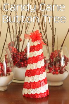 Love the red and white buttons from www.buttonsgaloreandmore.com A fun candy cane button tree to add to your home decor this holiday season. Grab some buttons and a styrofoam cone to make your own today.
