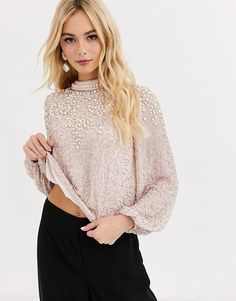 Buy Miss Selfridge high neck top with embellishment in pink at ASOS. With free delivery and return options (Ts&Cs apply), online shopping has never been so easy. Get the latest trends with ASOS now. High Neck Top, My Wardrobe, Party Wear, Miss Selfridge, Asos, Latest Trends, Cute Outfits, Pullover, My Style