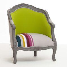 Fauteuil cabriolet tissu style baroque contour bois HUGO