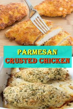 This Parmesan Crusted Chicken is an easy meal idea. We use pounded thin chicken breasts, coat in a delicious Parmesan coating, and then fried to make them crispy. Add this chicken idea to your dinner this week. Nut Recipes, Meal Recipes, Salad Recipes, Chicken Recipes, Cooking Recipes, Healthy Recipes, Easy Delicious Recipes, Simple Recipes, Yummy Food