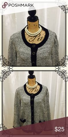 Black and white knit sweater/blazer Black and white knit cardigan/blazer. Soft sweater knit with black and gold button detail. A comfortable, warm and cozy way to look professional at the office! Xhilaration Sweaters Cardigans