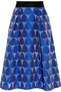 Milly Katie Grosgrain-trimmed Fil CoupÉ Skirt In Blue Fall Skirts, Cotton Skirt, Top Designer Brands, Tie Dye Skirt, Zipper, Polyvore, Outfits, Clothes, Flared Skirt