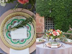 Tabletop Tuesday // Villa Romance  Arte Italica 24 Karat Etched Gold Vetro Plate Green Charles Sadek Sevres China Clear Vintage Goblets Gold Leaf Glassware Cross-back farm Chairs http://www.poshcouturerentals.com/blog/post/tabletop-tuesday-outdoor-elegance/