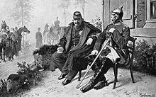 Napoléon III et Bismarck, le 2 septembre 1870 à Donchery, entrevue après la défaite de Sedan d'après Wilhelm Camphausen.