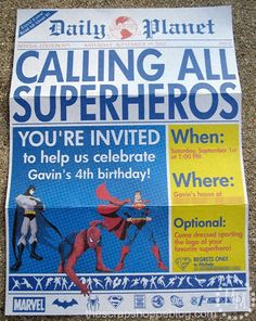 "Superhero Birthday Invitations Printable....do something like this, only for ""race day"" Superhero Birthday Invitations, Superhero Birthday Party, 6th Birthday Parties, Superhero Party Activities, Superhero Party Decorations, Superhero Signs, Superman Party, Printable Birthday Invitations, Super Hero Birthday"