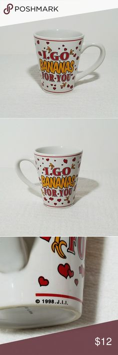 "Bananas Coffee Mug Red Hearts Pre-owned very minor issues nothing major see photos and description. Beautiful 1998 gift coffee mug ""I Go Bananas For You"" white with red floating hearts. This collectible mug is almost 20 years old never used for any beverages only a one or two minor issues nothing major safe to use for drinking hot or cold beverages size is 4""H and 3""W very thick handle as well. Other"