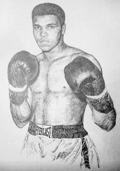 Muhammad Ali in Pencil by Steven Streetin Celebrity Caricatures, Celebrity Portraits, Pencil Drawings, Art Drawings, Half Sleeve Tattoos Drawings, Boxing Champions, Muhammad Ali, African American Art, Dream Art