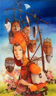 Merab Gagiladze - The Mask Seller Modern Surrealism, Dojo, Fairy Tales, Georgia, Character Design, Princess Zelda, Paintings, Culture, Illustrations