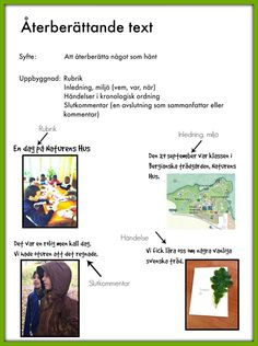 Återberättande text Learn Swedish, Swedish Language, Teaching Materials, Montessori, Classroom, Writing, Education, Reading, School
