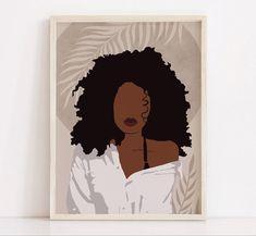 Black Art Painting, Black Wall Art, Painting Of Girl, Small Canvas Art, Diy Canvas Art, Art And Illustration, Fashion Wall Art, Black Women Art, African American Art