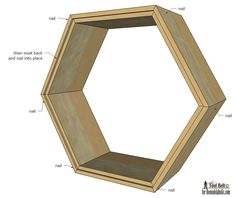 Create modern and unique wall decor with a gallery of geometric display shelves.  Free plans to build 4 different shaped shadow box shelves on Remodelaholic.