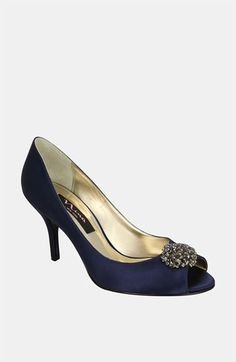 Nina Fiery Pump (Online Exclusive) available at #Nordstrom $89.00 Nicole!!! Navy pumps for under your dress like you were talking about!