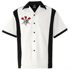 Red Eye - Awesome button down shirt with cool skull and darts design. #darts #bowlingshirts https://www.bowlingconcepts.com