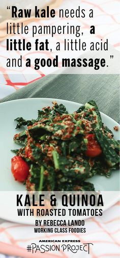 Easy And Simple Healthy Recipes Healthy Foods To Eat, Easy Healthy Recipes, Healthy Eating, Massaged Kale, Good Massage, Passion Project, Roasted Tomatoes, Healthy Weight Loss, Quinoa