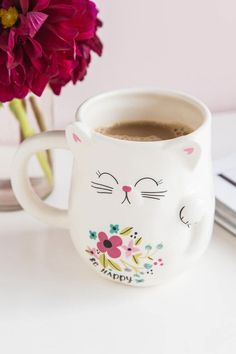 Be Happy Lucky Cat Shaped Mug- gift-cllifestyle