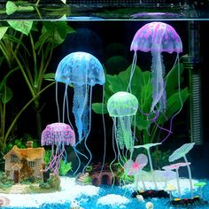 6Psc/6Color (With Box) Fluorescence Jellyfish Glowing Effect Fish Tank Aquarium Coral Decoration Ornaments Backguounds //Price: $9.95      #sale
