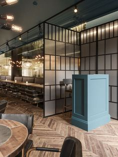 Host station Restaurant Lighting, Cafe Restaurant, Restaurant Design, Restaurant Interiors, Architecture Restaurant, Comfortable Dining Chairs, 3d Architectural Visualization, Front Door Design, Contemporary Bar