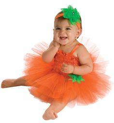 Infant's Halloween Pumpkin Tutu Costume halloween costume outfit for infant's 6-9 months. costume includes: pumpkin tutu dress, headpiece with flower and diaper cover. $17.99