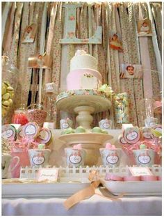 Lovely display at a Shabby Chic Baptism Party!  See more party ideas at CatchMyParty.com!