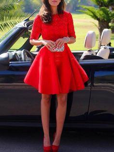 robe avec dentelle manches mi-longue -rouge