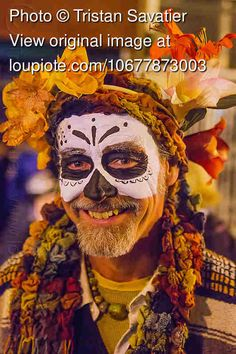 Image result for dia de los muertos makeup man beard | Halloween ...