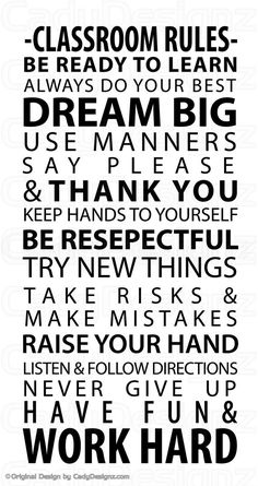 I have to get this. Classroom Rules Vinyl Wall Decal - Subway Art - School Rules - Wall Art - Vinyl Lettering - Small - 18x36