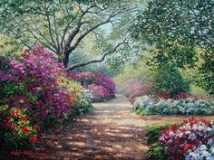 This piece depicts two dirt pathways both which lead the viewer in the thick of picturesque flourishing gardens.. Original Painting