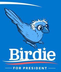 Humorous memes inspired by Democrat Bernie Sanders's 2016 presidential campaign.: Birdie for President