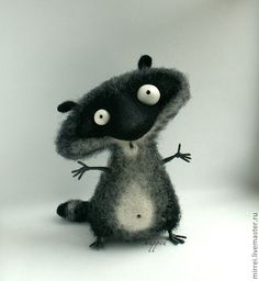 Toy animals, handmade.  Fair Masters - handmade raccoon wool (felt) (the picture from the internet).  Sold.  Handmade.