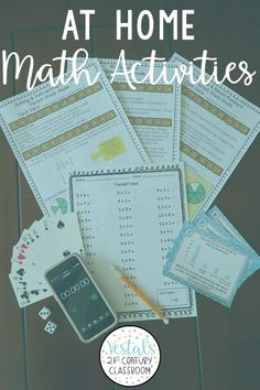 If you are in search of at home math activities, look no further! This blog post shares LOTS of math activities and games students can do at home.#vestals21stcenturyclassroom #athomemath #athomemathactivities #mathactivities #elementarymath