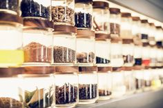 Jars of spices & seasonings in the Cookery School at Daylesford