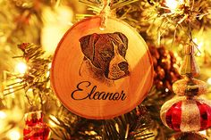 Dog Ornament Christmas Ornament by DarkHorseEngraving on Etsy