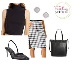 Fall work outfits- Plaid Pencil Skirt Business Chic, Business Look, Business Fashion, Leather Boots, Black Leather, Corporate Style, Plaid Pencil Skirt, Sleeveless Turtleneck, Fall Outfits For Work