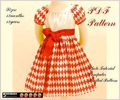 Olivia PEASANT DRESS PATTERN, Girls Dress patterns, pdf Sewing Patterns for Children,Baby, Toddler, E Book, Tutorial, 5 Berries. $6.90, via Etsy.