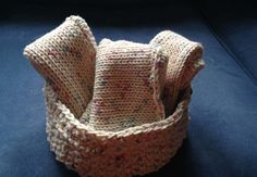 Knit Gift Set 3 cotton wash cloths, presented in a knit and crochet bowl,