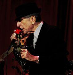 Photo: Leonard Cohen With Rose - Katowice Oct 4, 2010
