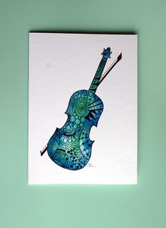 Zentangle Art | Zentangle art, watercolor card, fiddle, violin, music card, original ...