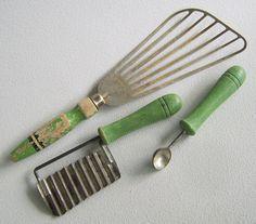Vintage Fifties Green Wood Handle Kitchen utensils