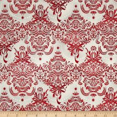 Holiday Flourish Metallic Damask Silver from @fabricdotcom  Designed by Peggy Toole for Robert Kaufman, this cotton print fabric is perfect for quilting, apparel and home decor accents. Colors include white and shades of red. Features silver metallic accents throughout.