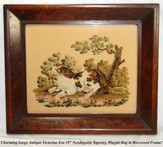 """Antique Victorian Era 19"""" Needlepoint Tapestry, King Charles Spaniel in Rosewood Frame  Photo credit: Antiques & Uncommon Treasure"""
