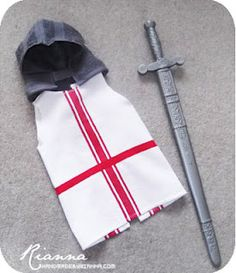 Knight costume - made from tea towels and flannels - frugal and very cute