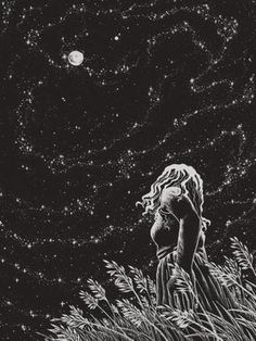 """""""Sometimes, I sit alone under the stars and think of the galaxies inside my heart, and truly wonder if anyone will ever want to make sense of all that I am."""" -Testy McTesterson- Art by Akageno Saru"""