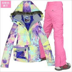 168.00$  Watch here - http://alikv6.worldwells.pw/go.php?t=32216866056 - 2015 womens pink ski suit female snowboarding riding suit colorful jacket + pink pants snow wear skiwear waterproof 10K XS-L 168.00$