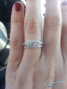 1-3/5 CT Three Stone Diamond 925 Silver Engagement & Wedding Bridal Ring Set #aonejewels #SolitairewithAccents