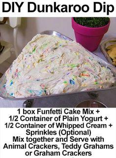 DIY Dunkaroo Dip Sub vanilla yogurt instead of plain Dessert Dips, Dessert Parfait, Köstliche Desserts, Dessert Recipes, Picnic Recipes, Dip Recipes, Yummy Treats, Sweet Treats, Yummy Food