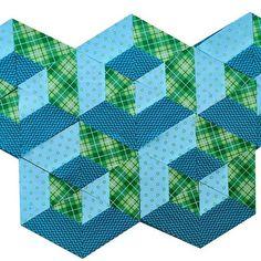 2-minute video tutorial: 3D hexagon quilt block - TeresaDownUnder