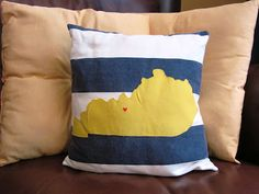Kentucky Pillow with Hometown Heart  Love it! by Morgan: Our Fall Living Room