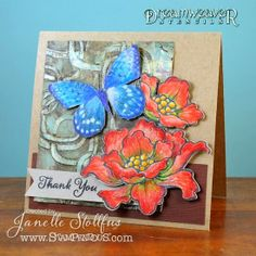 #cre8time for Rain Puddles and a terrific Blossom Card for the #Stampendous #DreamweverStencils Blog Hop
