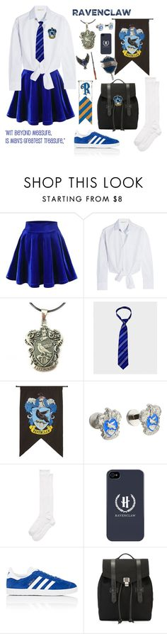"""""""Hogwarts uniform 2017 - Ravenclaw ( usual day)  for girls"""" by maddigrace-ccc ❤ liked on Polyvore featuring Maje, Rubie's Costume Co., Cufflinks, Inc., Kate Spade, adidas, Proenza Schouler and Gemco"""