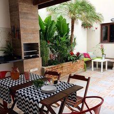 Reforma Em Casa by Lara e Rico ( Home Design Decor, Patio Design, Door Design, House Design, Home Decor, Surf House, Indoor Trees, Outdoor Living Rooms, Rooftop Restaurant